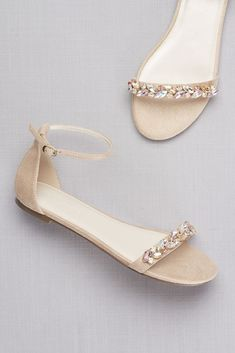 Faux-Suede Gem Strap Flat Sandals - Chunky iridescent gems form a laurel leaf pattern Shoes Flats Sandals, Flat Sandals, Gold Sandals, Strappy Sandals, Gladiator Sandals, Leather Sandals, Cute Shoes, Me Too Shoes, Souliers Nike