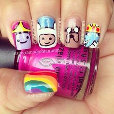 Image in Nails collection by Vicky on We Heart It Great Nails, Cool Nail Art, Cute Nails, Adventure Time Nails, Coloured French Manicure, Beautiful Nail Polish, Nails For Kids, Nail Polish Designs, Nail Art Hacks