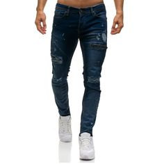 New Men's Jeans Hole Men's Casual Denim Pants Fashion Hot Men's Long Straight Leg Slim Fit Skinny Jeans Vaqueros Hombre Solid Mens Casual Jeans, Jeans Slim, Slim Fit Trousers, Ripped Jeans, Jeans Pants, Casual Pants, Male Jeans, Casual Shirt, Harem Pants