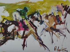 Original Mixed Media Horse Racing Painting