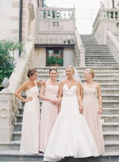 soft #pink and #ivory for the #bridesmaids Photography by jessicalorren.com  Read more - http://www.stylemepretty.com/2011/11/22/english-barn-wedding-by-marianne-taylor-photography-mark-brown/