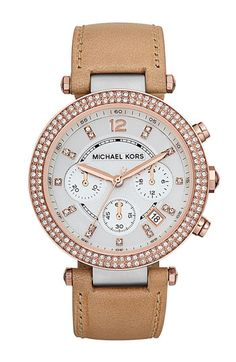 Michael Kors Parker Chronograph Leather Watch, 39mm available at Nordstrom