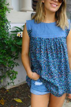 Sew Tessuti Blog - Sewing Tips & Tutorials - New Fabrics, Pattern Reviews: Modified Linen/Liberty Alice Top