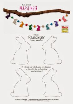 Easter bunny felt garland with pom poms template:
