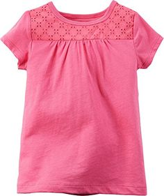 Carters Baby Girls Eyelet Lace TShirt 18 Months Pink ** Check this awesome product by going to the link at the image.
