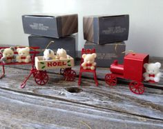 Vintage Avon Teddy Bear Ornament Collection, Teddy on Rocker, on Bench, in Wagon, on Train