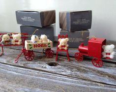 Vintage Avon Teddy Bear Ornament Collection, Teddy on Rocker, on Bench, in Wagon, on Train