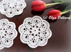 This is a pattern for a lace crochet coaster (small doily), made with cotton thread size ten (such as Aunt Lydia's) and a steel hook mm. Stitch Crochet, Thread Crochet, Crochet Shawl, Crochet Doilies, Crochet Stitches, Crochet Hooks, Crochet Edgings, Free Doily Patterns, Crochet Flower Patterns