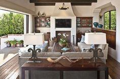 Den opens to the Pacific Ocean - mediterranean - family room - los angeles - Dayna Katlin Interiors