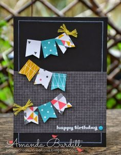 Remembering Your Birthday Ink: Versamark, Whisper White Cardstock: Basic Black DSP: Kaleidoscope Punch: Banner Embellishments: Sweet Sorbet twine, brights candy dots. and white ep..
