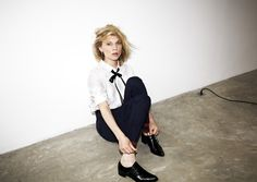 Le Fashion Blog -- Clemence Poesy for Madame Figaro in a ribbon neck tie, white button down, cropped pants and monk strap shoes -- photo Le-Fashion-Blog-Clemence-Poesy-Madame-Figaro-Ribbon-Neck-Tie-Monk-Strap-Shoes.jpg