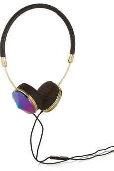 Frends Layla leather and iridescent metal headphones   NET-A-PORTER