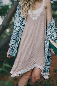 layering lace slip dress