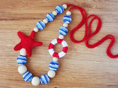 Crochet Nautical Sailor Babywearing Teething by NecklacesForMommy