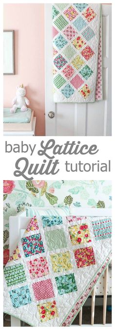 Lattice Baby Quilt Tutorial is part of Black children Feelings - Baby quilt tutorial perfect for using 5 charm squares Learn a new quilting skill how to sew together patchwork squares on point Quilt Baby, Baby Girl Quilts, Girls Quilts, Kid Quilts, Baby Quilt For Girls, Amish Quilts, Quilts For Babies, Toddler Bed Quilt, Baby Patchwork Quilt