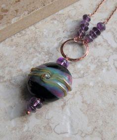 Jupiter Pendant  Lampwork and Amethyst by oliviasgarden on Etsy, $28.00