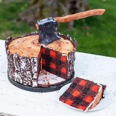 lumberjack wood cake with plaid inside