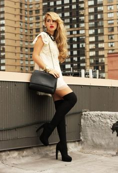 Little white dress with black tights and heels | Just a Pretty Style