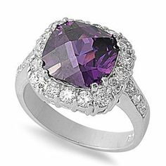 Rhodium Plated Sterling Silver Wedding & Engagement Ring Amethyst, Clear CZ CZ Ring 13MM ( Size 6 to 9) Double Accent. $33.99. 925 Sterling Silver. Comes With Beautiful Jewelry Case. Promprt Shipping