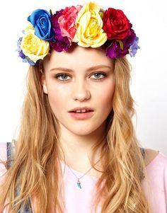 Multicolor Oversized Floral Crown Head Band  Be Freida Kahlo for Halloween