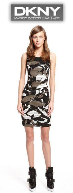 DKNY Runway Riley Print Lightweight Stretch Georgette Scoopneck Dress