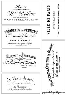 Vintage Labels Gorgeous French Typography Labels and Project! - The Graphics Fairy - Great Free printable plus Project by Dreams Factory for The Graphics Fairy Printable Labels, Free Printables, Labels Free, Vintage Labels, Vintage Ephemera, Vintage Cards, French Typography, Typographie Logo, Etiquette Vintage