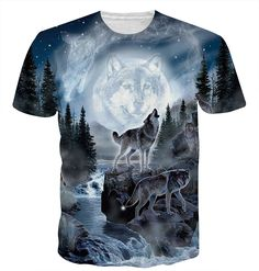 1b84fef8 Unisex Casual T Shirt 3D Printed Novelty Graphic Tees Shirt - Wolf-1 -  C218C806A4L