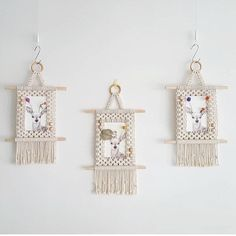 Wall Hanging Photo Frames, Hanging Photos, Woven Wall Hanging, Tapestry Wall Hanging, Picture Holders, Hm Home, How To Make Rope, Geometric Wall Art, Macrame Patterns