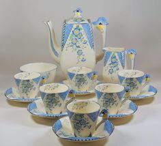 Burleigh Art Deco MAYTIME 15 Piece Coffee Set inc Pot, Cups & Saucers, Jug, Bowl | eBay