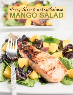 This Honey Glazed Baked Salmon Mango Salad is an explosion of flavor on the taste buds. Baked Honey Glaze Salmon and Mango with Honey Lime Ginger Dressing.