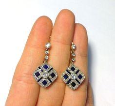Antique Edwardian 14K Gold Platinum Diamond Sapphire Pendant Drop Earrings