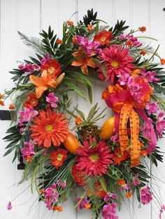 Tropical Wreath, Spring, Summer Wreath, Hawaiian Wreath, bright orange and hot pink colors, Pineapple, mangoes,. $139.99, via Etsy.