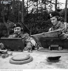 WW2 (L) General Stanislaw Maczek communicating on radio