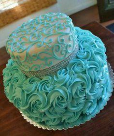 Teal turquoise ombr buttercream rosette birthday cake Cakes
