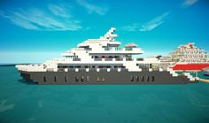Minecraft Yacht Minecraft City Buildings, Easy Minecraft Houses, Minecraft Houses Blueprints, Minecraft Architecture, Cool Minecraft, Minecraft Creations, Minecraft Designs, Minecraft Skins, Minecraft Projects