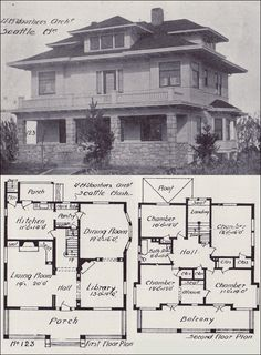 closest ive found yet to our houses main floor plan it seems we may be using the library as the living room 1908 western home builder prairie box - California Home Floor Plans