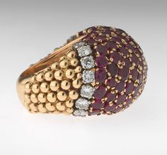 Van Cleef & Arpels N.Y. Ruby and Diamond Dome Ring, Made in France