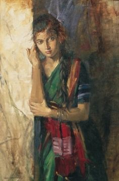 John Fernandes, John, Figurative Paintings, Oil on Canvas Paintings, Water… Indian Women Painting, Indian Artist, Indian Artwork, Indian Art Paintings, India Painting, Portrait Art, Woman Portrait, Portraits, Portrait Ideas