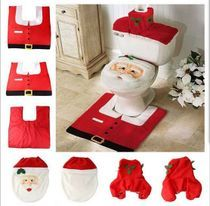 Santa toilet seat cover + foot pad + Christmas decorations aliexpress tissue box cover of water tank supply
