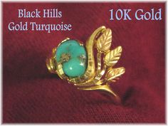 10K Gold - Authentic  BLACK HILLS Gold & Morenci Turquoise - Yellow  Rose Gold Leaf Ring  @@ FREE SHIPPING @@