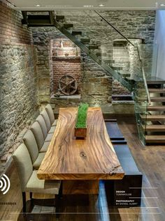 An idea for the wine cellar basement!!! :-) love the wall & half turn stairs and alcoves. Stairs too modern though.