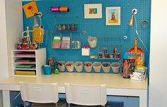 Dollar Store Organizing Ideas and Projects for the Entire Home Basement organization: painted pegboard. love the colorBasement organization: painted pegboard. love the color Painted Pegboard, Craft Station, Kids Art Station, Kids Study, Study Space, Desk Space, Small Study, Study Desk, Study Rooms