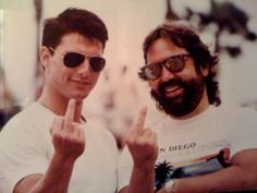 Tom Cruise and Don Simpson On The Set of Top Gun (1985).
