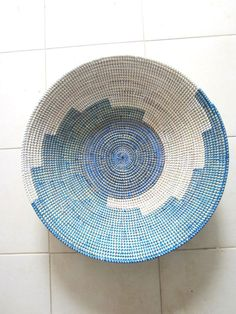 Electric Blue Serving Platter, Plate, Fruit Bowl, wall deco on Etsy, $59.00