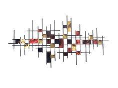 Nouveau - Métal Sculpture art de mur - Grand métro de Burnt Résumé Carte de grille