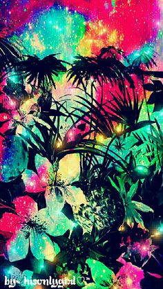 Galaxy tropical garden galaxy wallpaper I created for the app CocoPPa