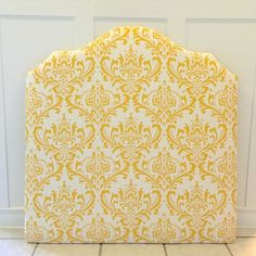 Twin size upholstered headboard in yellow and white, includes hardware to be attached to the wall. Austin, TX  #upholstery #upholsteredheadboard #twinbed #twinheadboard #home #homedecor #kiddecor #girlroom #girlsroom #kidroom #bedroom #bed #austintx #austinmaker #handmade #lollyandjune