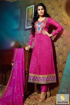Pavitraa #Pink with #Blue Color Casual #Salwar Suit