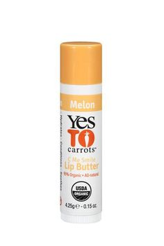 """Lip Balm  """"I use Yes to Carrots lip butter.  It is made with great ingredients and actually corrects dry skin, instead of just coating it."""" — Gloria NotoYes To Carrots Lip Butter in Melon, $3.27, available at Soap.com."""