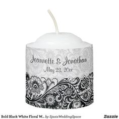Bold Black White Floral Wedding Votive Candle